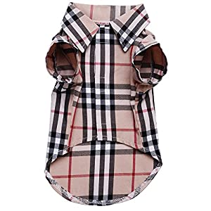CHOLEGIFT Small Dog Puppy Shirt Clothing Big Cat Cotton Lapel Costume Polo Apparel - Fitwarm Western Plaid Dog Clothes for Pet