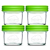 small glass locking containers - Glass Baby Food Storage Containers - Set Includes 4 Piece 4oz Reusable Jars with Airtight Lids - BPA Free, Freezer Dishwasher and Microwave Safe