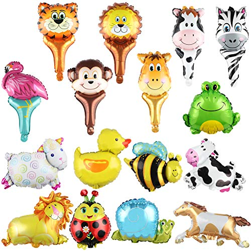 SOTOGO 16 Pieces Mini Jungle Safari Animals Balloons Zoo Animal Balloons Kit For Jungle Safari Animals Theme Birthday Party Decorations Kids Gift Birthday Party Décor, 2 Kinds