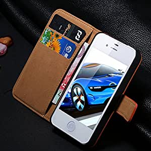 2015 New Luxury Retro Genuine Real Leather Case for iphone 4 4S 4G Wallet Stand Card holder / Flip Open 2Style Cover for iphone4 --- Color:style 1 red