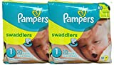Pampers Swaddlers Diapers, Size 1, 20 Count Pack of 2 (Total of 40 Pampers)