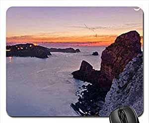 moon over village on the bay at dusk Mouse Pad, Mousepad (Houses Mouse Pad, Watercolor style) by mcsharks