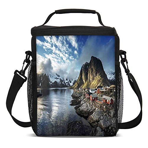 Ocean Island Decor Fashionable Lunch Bag,Fishing Hut Photo in Autumn with Rocks and Clouds Scenery Northern Norway Cold for Travel Picnic,One size