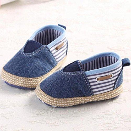 Por 0-18 Mes Auxma Zapatos antideslizantes lisos lindos de los muchachos de los bebés de NewBorn primeros zapatos que caminan Azul