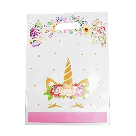 Fingertoys Lote de 20 Bolsas de Regalo de Plástico para Fiesta Cumpleaños Motivo Unicornio - H07