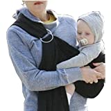 Topiastore Lightly Adjustable Baby Ring Sling Carrier Wrap,Newborn to Toddler (Black)