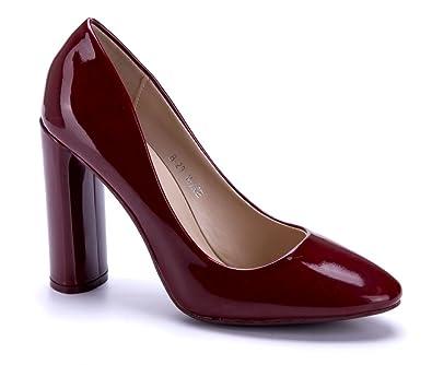 Schuhtempel24 Damen Schuhe Klassische Pumps Rot Blockabsatz 10 cm High Heels