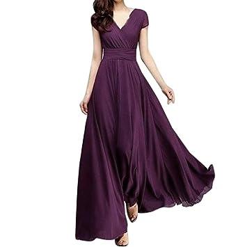 Mujer Faldas, Honestyi,Vestido largo de noche de gasa sólido con cuello en V