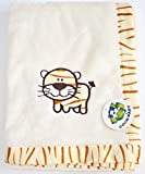 Plush Beige 2 ply PV Unisex Baby Blanket, Embroidery Tiger Design, 30''x40''