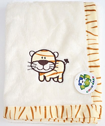 - Plush Beige 2 ply PV Unisex Baby Blanket, Embroidery Tiger Design, 30