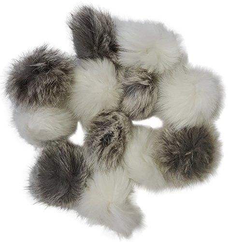 Real Rabbit Fur Pom Pom Ball Cat Toys 12-pack