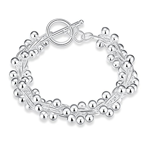NA BEAUTY Sterling Silver Twist Link Brecelet with Small Silver Beads Ball Charm Around, Toggle (Silver Ball Toggle Bracelet)