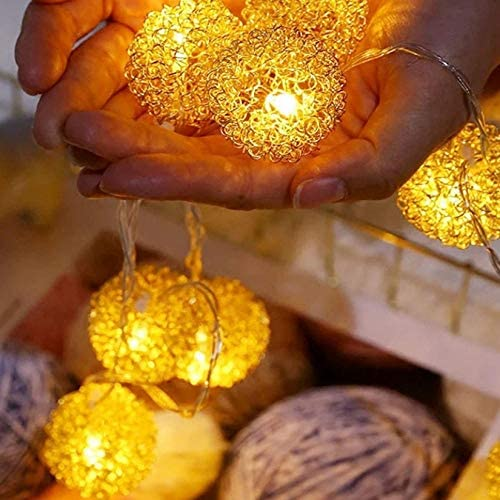 HALLEHOME Led Lichterketten, Erde Lichterketten Im Freien Und Im Innenbereich Wasserdicht, Golden Fur Ball, Party Hochzeit Garten Weihnachten Dekoration, Batterie 6M 40 Licht