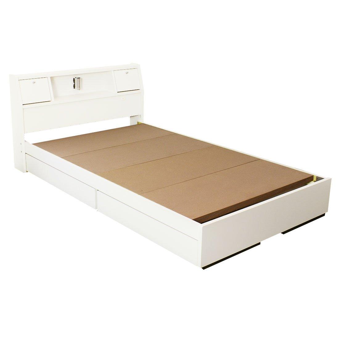 タンスのゲン 日本製 収納ベッド 引き出し コンセント付 フレームのみ 木製 宮棚 シンプル ベッドフレーム ダブル クラシックホワイト 44300003 03 B06XDXX8JW 3、ダブル|クラシックホワイト クラシックホワイト 3、ダブル
