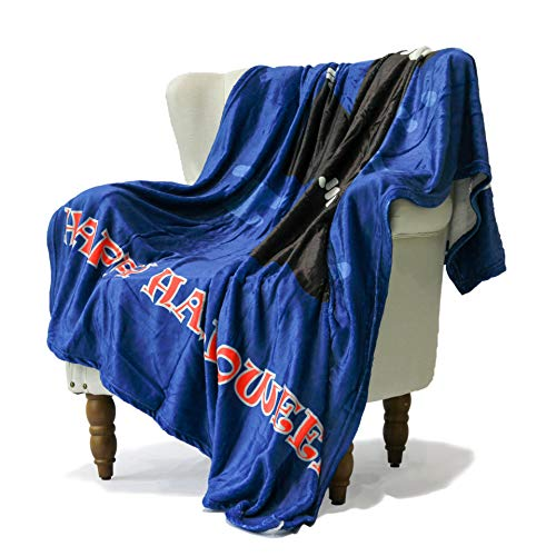 LIVETTY Halloween Decorative Sofa Bedding Throw Blanket for Sofa Cartoon Death Grim Reaper with Sickle Pattern Red Eyes Devil Blankets Super Soft Flannel Plush Sherpa Fleece 50x70 Inch Navy Blue ()