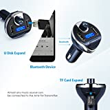 Criacr FM Transmitter Bluetooth, Wireless Radio Transmitter Car Adapter Kit, Universal USB Car Charger with Dual Charging Ports, Hands Free Calling for All Smartphones (Blue)