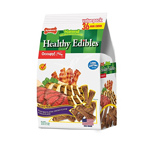 Nylabone Healthy Edibles Natural Puppy Treats Variety Pack, Mini Puppy Treats, 36 Count