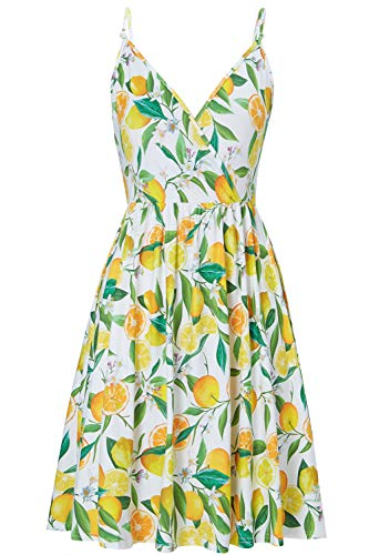 RAISEVERN Women's V Neck Floral Dress Cool Adjustable Spaghetti Strap Dresses Summer Lemon Flared Swing Dress with Pocket