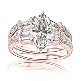 1.58 Carat t.w. GIA Certified Marquise Cut 14K Rose Gold Baguette and Round Brilliant Diamond Engagement Ring and Wedding Band Set (I-J Color VS1-VS2 Clarity Center Stones)