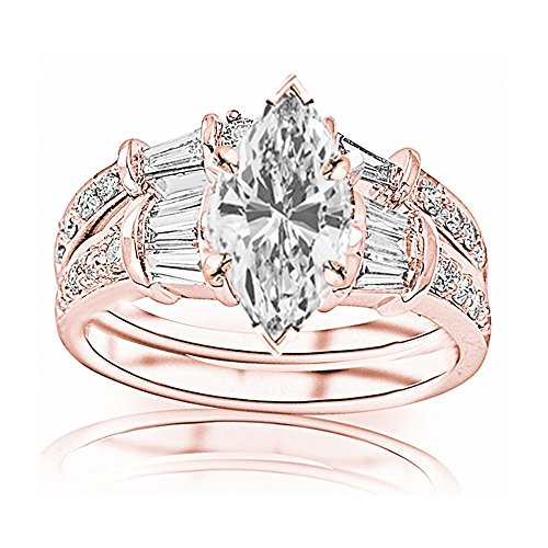 - 1.58 Carat t.w. GIA Certified Marquise Cut 14K Rose Gold Baguette and Round Brilliant Diamond Engagement Ring and Wedding Band Set (I-J Color VS1-VS2 Clarity Center Stones)