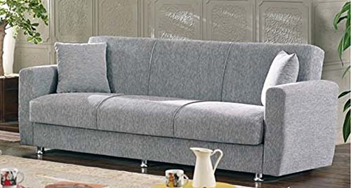 Empire Furniture USA Niagara Collection Modern Fold Out Convertible Sofa Bed Sleeper with Storage Space, Includes 2 Pillows, Gray