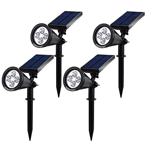{New Version 2 Modes} 200 Lumens Solar Wall Lights/In-ground Lights, 180°Angle Adjustable and Waterproof 4 LED Solar Outdoor Lighting, Spotlights, Security Lighting, Path Lights (TD-604, 4 Pack)