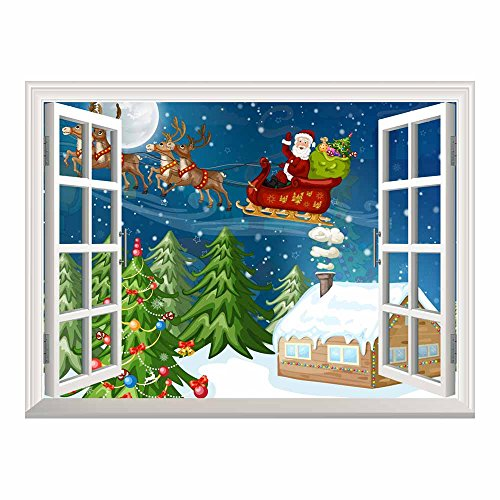 Cartoon Santa Claus and Reindeer Flying over The Rooftop on Christmas Eve Night Peel and Stick Wall Mural