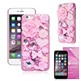 iPhone 6S (2015) Case, iPhone 6 (2014) Case, EpicGadget(TM) 3D Handmade Luxury Fairy Tale Flowers Pearl Diamond Cover For Apple iPhone 6 4.7 inch + Free iPhone 6 4.7 Screen Protector (US Seller!!) (Pink)