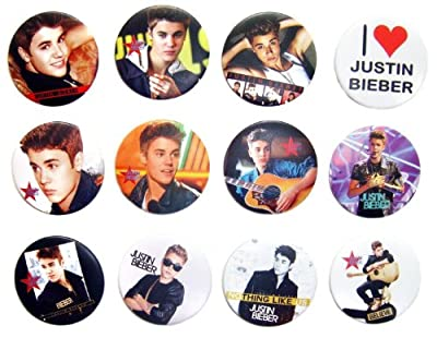 JUSTIN BIEBER (1) Awesome Quality Lot 12 New Pins Pinback Buttons Badge 1.25""