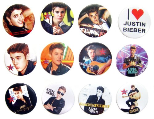 JUSTIN BIEBER (1) Awesome Quality Lot 12 New Pins Pinback Buttons Badge 1.25