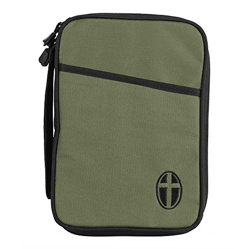 Thinline Bible Cover - Olive and Black Cross Polyester Thinline Bible Cover Case With Handle