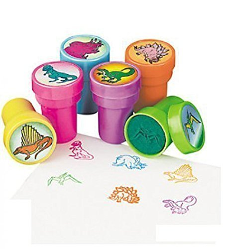 Rhode Island Novelty (STSTADI) Set of 24 Assorted Colorful Dinosaur Stampers - Arts and Crafts Birthday Party Activity -