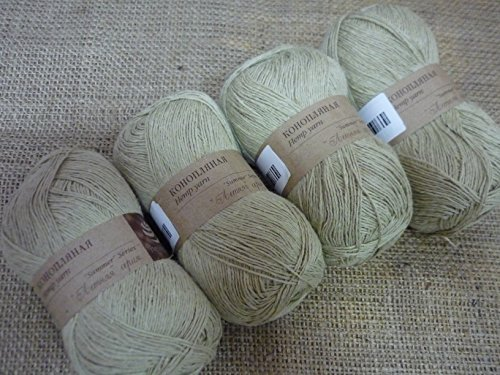 30% Hemp Yarn 70% Cotton Yarn Thread Crochet Lace Hand Knitting Yarn Craft Art Embroidery Lot of 4 skeins 200gr 1224yds Color Natural Hemp 1000