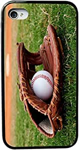 Rikki KnightTM Baseball with Glove Design Design iPhone 5 & 5s Case Cover (Black Rubber with bumper protection) for Apple iPhone 5 & 5s by icecream design