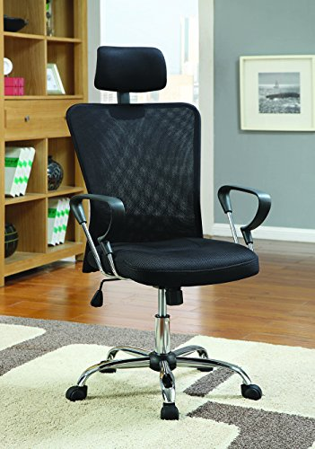 Coaster Home Furnishings Office Chair Black Mesh and Chrome