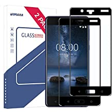 Nokia 8 Screen Protector, Wimaha 2 Pack Tempered Glass Screen Protector for Nokia 8 Full Screen Coverage Scratch Resistant Bubble Free Case Friendly, Black