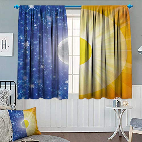 Anhounine Space,Blackout Curtain,Split Design with Stars in The Sky and Sun Beams Solar Balance Nature Image Print,Room Darkening Curtains,Blue Yellow,W72 x L72 inch