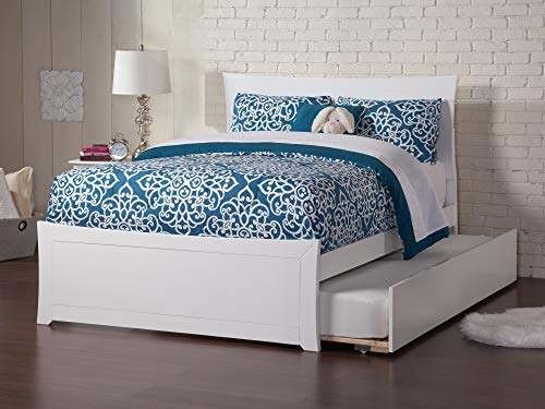 Atlantic Furniture AR9036012 Metro Platform Bed with Matching Foot Board and Twin Size Urban Trundle, Full, White