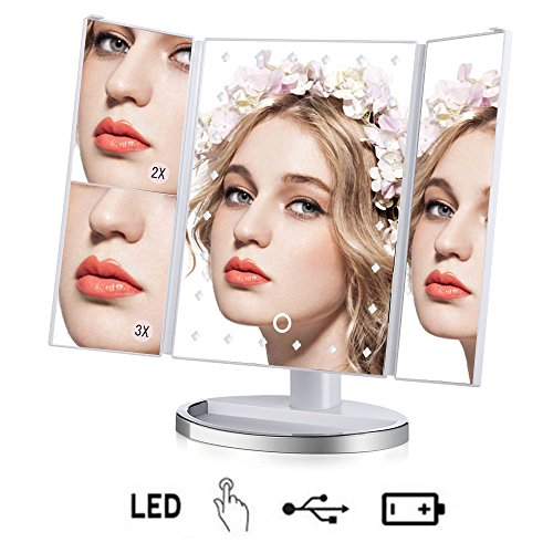 irror Lighted Vanity Mirror Tri-Fold With 24 Led Lights 1x/2x/3x Magnification 180 degree Rotation Adjustable Stand for Countertop Cosmetic Bathroom Mirror - White (Round Vanity Stand Mirror)