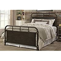 Hillsdale Logan Queen Metal Spindle Panel Bed in Rubbed Black