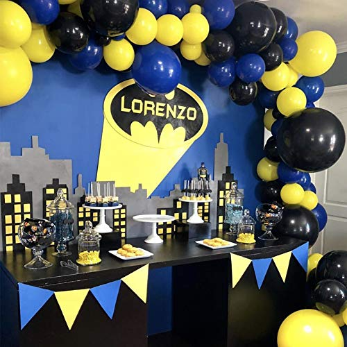 PartyWoo Batman Party Supplies 80 pcs 12'' Matte Balloons Pack of Yellow Balloons Black Balloons Royal Blue Balloons, Party Balloons for Batman Party, Pokemon Party, Minion Party, Despicable Me Party -