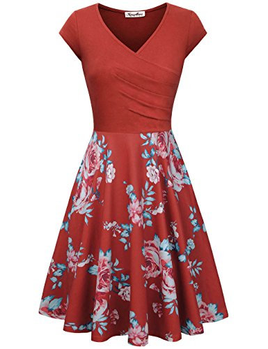 KASCLINO Floral Print Dress, Women's Floral Print V-Neck Vintage Cocktail Dress Orange XXL