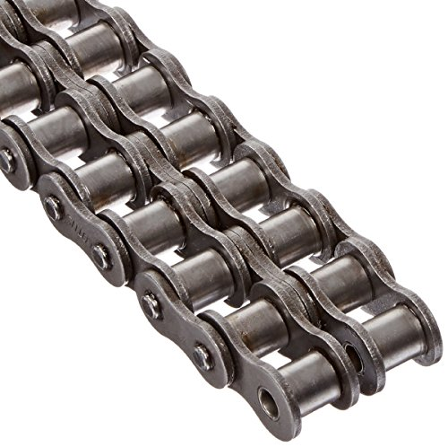 "Tsubaki 40-2LOTRB ANSI Roller Chain, Double Strand, Riveted, Carbon Steel, Inch, #20 ANSI No., 1/2"" Pitch, 0.312"" Roller Diameter, 0.312"" Roller Width, 10ft Length"