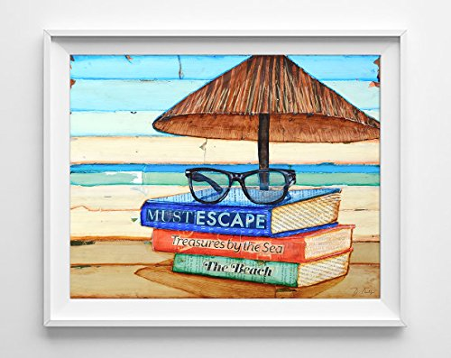 Reading Glasses by Danny Phillips Art Print, UNFRAMED, beach wall decor, sunglasses, book lover, summer vacation gift, ALL - Austin Sunglasses