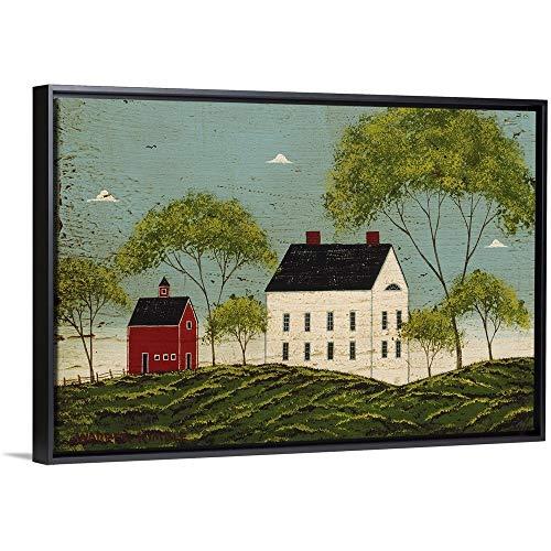 House with Dark Blue Sky Black Floating Frame Canvas Art, 32