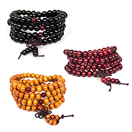 Necklace,3Pcs 108 8mm Wood Beaded Tibetan Buddhist Sandalwood Prayer Buddha Mala Beads Meditation Bracelet Elastic(Red Black (Wood Beaded Jewelry)