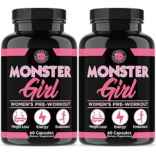 (Monster Girl, Women's Pre-Workout + Recovery by Angry Supplements, Apple Cider Vinegar & Garcinia Cambogia, Weight Loss & Shape - Boosts Energy w. Caffeine, Yerba Mate, Ginseng & Guarana (2-Bottles))