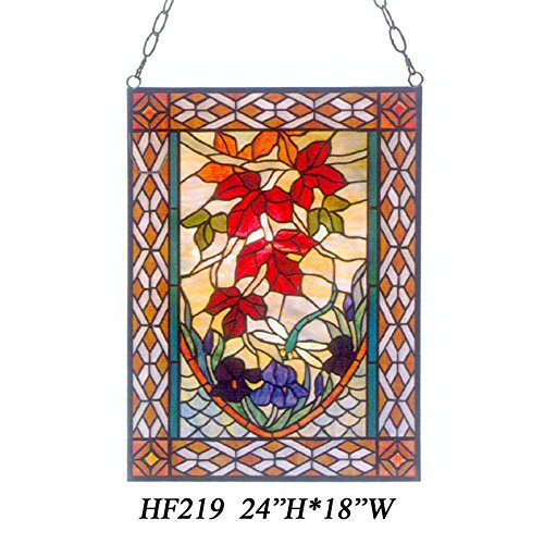 HF-219 Tiffany Style Stained Church Art Glass Maple Leaves Rectangle Window Hanging Glass Panel Suncatcher, 24