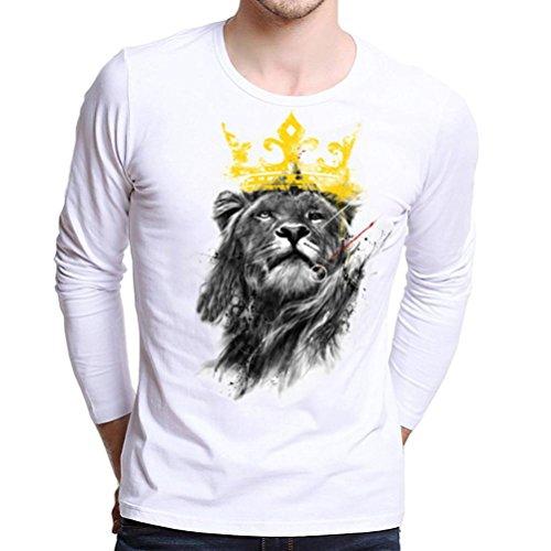 Han Shi Blouse, Fashion Men Long Sleeve T-shirt Lion Print Plus Size Casual Tank Tops (M=(US XS), - 80's Urban Fashion