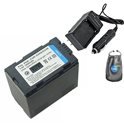 Amsahr S-CGRD320 Digital Replacement Battery Plus Travel Charger for Panasonic CGR-D320 with Lens Accessories Pouch (Gray)